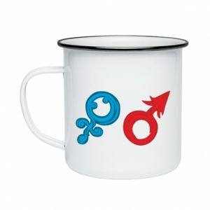 "Enameled mug Signs ""He"" and ""She"""
