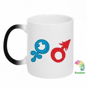 "Magic mugs Signs ""He"" and ""She"""