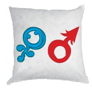 """Pillow Signs """"He"""" and """"She"""""""