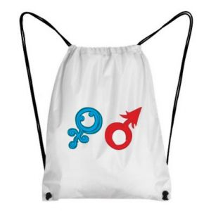 """Backpack-bag Signs """"He"""" and """"She"""""""