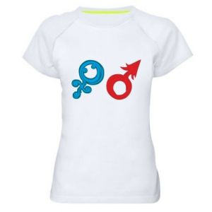 """Women's sports t-shirt Signs """"He"""" and """"She"""""""