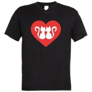 Męska koszulka V-neck Koty w sercu
