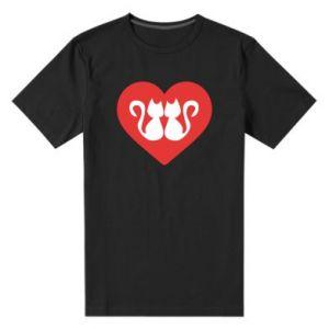 Męska premium koszulka Koty w sercu