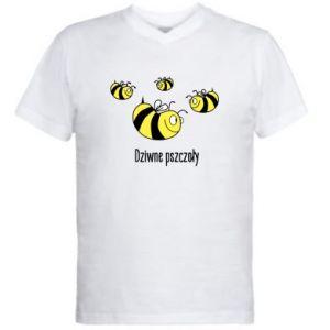 Męska koszulka V-neck Dziwne pszczoły