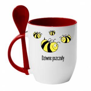 Kubek z ceramiczną łyżeczką Dziwne pszczoły
