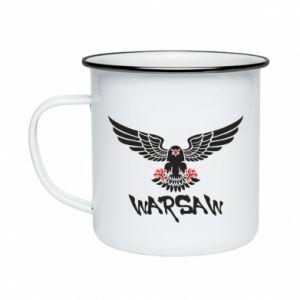 Kubek emaliowane Warsaw eagle black ang red