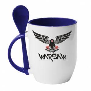 Kubek z ceramiczną łyżeczką Warsaw eagle black ang red