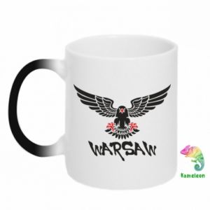 Kubek-kameleon Warsaw eagle black ang red
