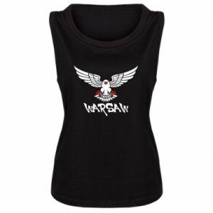 Damska koszulka bez rękawów Warsaw eagle black ang red
