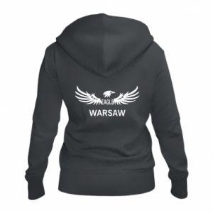 Women's zip up hoodies Warsaw eagle black or white - PrintSalon