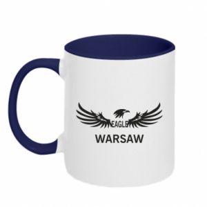 Two-toned mug Warsaw eagle black or white - PrintSalon