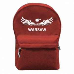 Backpack with front pocket Warsaw eagle black or white - PrintSalon