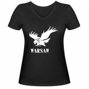 Damska koszulka V-neck Warsaw eagle