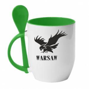 Kubek z ceramiczną łyżeczką Warsaw eagle