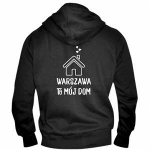Męska bluza z kapturem na zamek Warsaw is my home - PrintSalon