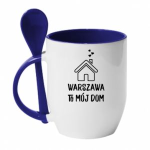 Mug with ceramic spoon Warsaw is my home