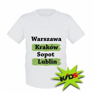 Dziecięcy T-shirt Warszawa, Kraków, Sopot, Lublin