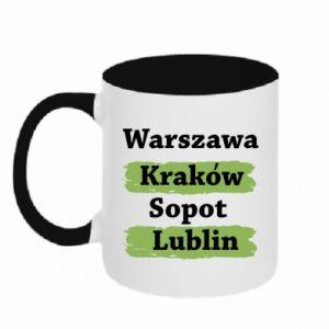 Kubek dwukolorowy Warszawa, Kraków, Sopot, Lublin