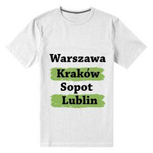 Men's premium t-shirt Warsaw, Krakow, Sopot, Lublin