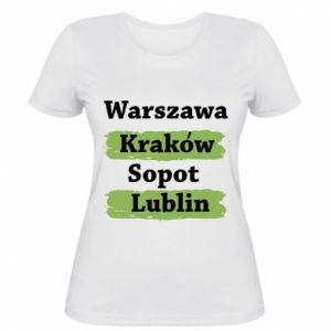 Women's t-shirt Warsaw, Krakow, Sopot, Lublin