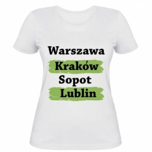 Damska koszulka Warszawa, Kraków, Sopot, Lublin