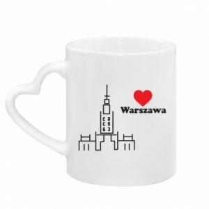 Kubek z uchwytem w kształcie serca Warszawa kocham cię