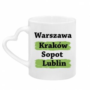 Mug with heart shaped handle Warsaw, Krakow, Sopot, Lublin