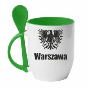 Kubek z ceramiczną łyżeczką Warszawa - PrintSalon