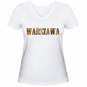 Damska koszulka V-neck Warszawa - PrintSalon
