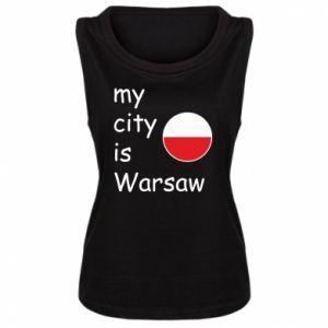 Damska koszulka bez rękawów My city is Warszaw