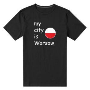 Męska premium koszulka My city is Warszaw