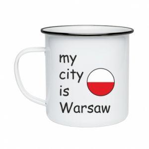 Enameled mug My city is Warsaw