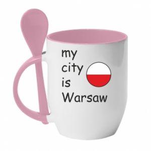 Kubek z ceramiczną łyżeczką My city is Warszaw