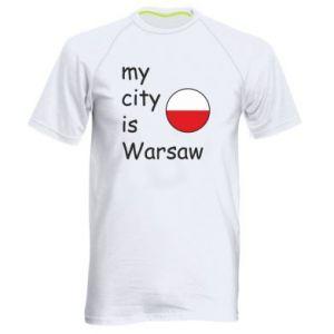 Męska koszulka sportowa My city is Warszaw