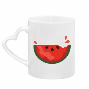 Mug with heart shaped handle Watermelon with a bite