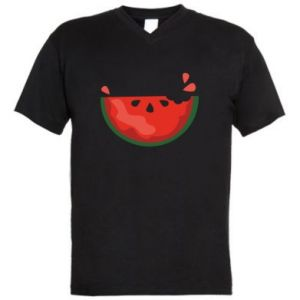Męska koszulka V-neck Watermelon with a bite
