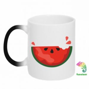 Chameleon mugs Watermelon with a bite