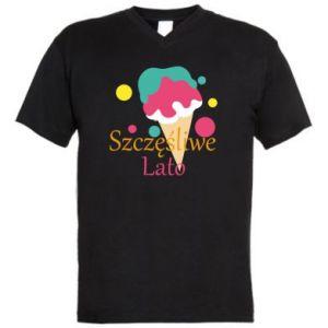 Męska koszulka V-neck Szczęśliwe lato - PrintSalon