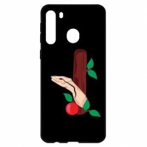 Etui na Samsung A21 Wąż i jabłko