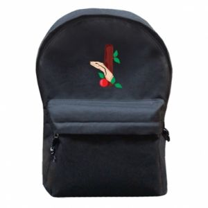 Backpack with front pocket Snake and apple