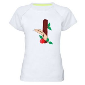 Women's sports t-shirt Snake and apple