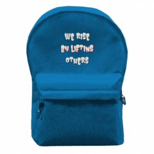 Backpack with front pocket We rise by liftins others