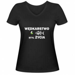 Damska koszulka V-neck Wędkarstwo to styl życia