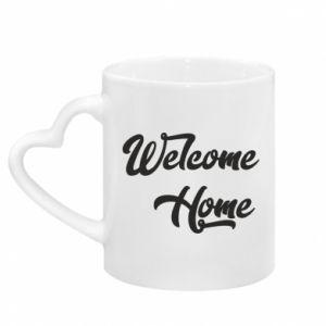 Kubek z uchwytem w kształcie serca Welcome home
