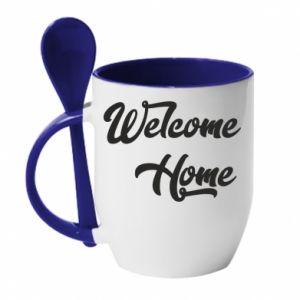 Kubek z ceramiczną łyżeczką Welcome home