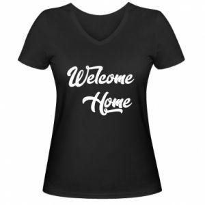 Damska koszulka V-neck Welcome home
