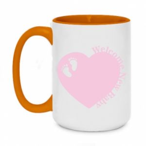 Two-toned mug 450ml Welcome new baby