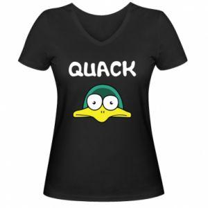 Women's V-neck t-shirt Quack - PrintSalon