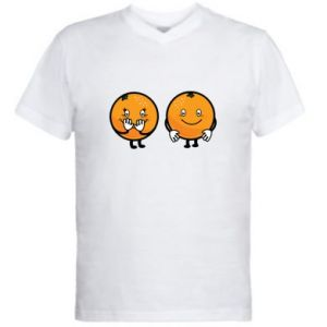Men's V-neck t-shirt Cheerful Oranges - PrintSalon