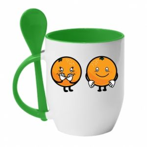 Mug with ceramic spoon Cheerful Oranges - PrintSalon